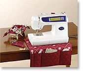 Sewing Room Accessories- A basket with a decoratively stitched liner holds thread and notions. A pretty case protects your favorite scissors. And the caddy slips easily under your machine and provides pockets for your most frequently used tools.