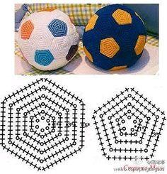 how to make football* amigurumi football* crochet ball* Crochet Ball, Crochet Baby Toys, Crochet Diy, Crochet Motifs, Crochet Diagram, Crochet Chart, Crochet For Kids, Crochet Stitches, Crochet Patterns