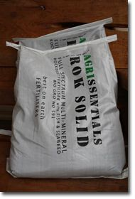 RokSolid 10kg $30.00: Full Spectrum fertiliser - ground basalt rock, fish and seaweed (all NZ sourced and biogro certified). The best all round fertiliser for organic gardeners - high mineral and microbial content corrects and improves balance of soil nutrients; increases worms, improves drainage and soil structure for stronger, more robust, disease resistant plants.  One product does everything - your pasture, lawn, vegie beds, fruit trees and seedling raising