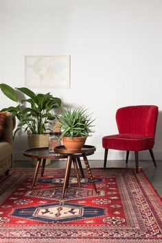 Lounge stoel - Red chair - Retro livingroom - Woonkamer - Vintage - Plants - interieur