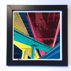 """Gallery: Pop series """"Highways of Moods"""" (2015) 12 x 12 inch, digital art - Giclee print on enhanced matte with glass framed. Stain black, 14 x 14 inch. Signed by Jon Savage. ---------------------------------- This artwork serves as a metaphor. This artwork could have your own interpretation. ---------------------------------- #art #artist #popart #popartist #digitalart #contemporary #contemporaryart #underbridge #freeways #highways #metaphor #metaphorart #sandiego #jonsavagegallery"""
