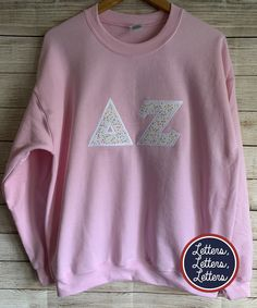 Your place to buy and sell all things handmade Delta Zeta Shirts, Sorority Shirts, Sorority Crafts, Sorority Letters, Letter Patterns, Greek Clothing, White Trim, Satin Fabric, Casual Shirts