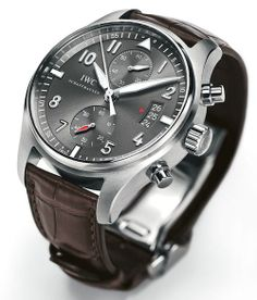 IWC Spitfire Chronograph with In-House Caliber 89365 - Monochrome Watches Dream Watches, Luxury Watches, Cool Watches, Watches For Men, Unique Watches, Iwc Pilot, Iwc Watches, Bracelet Cuir, Patek Philippe