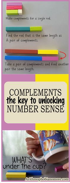 Complements in kindy and first grade years are the key to developing strong number sense and math facts. Students break apart and put together rods and equivalents & learn the rules for doing so. #homeschool #math #elementary math