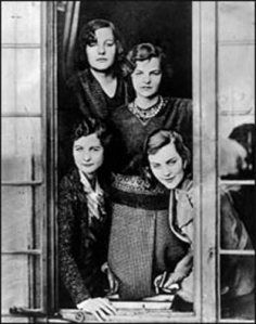 The six Mitford Sisters: Nancy, Pamela, Diana, Unity, Jessica and Deborah.  Four of them were published authors.