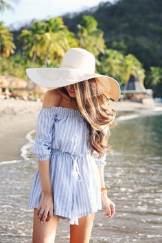 Off the Shoulder Romper // Large Sun Hat in Tan // Summer Beach Outfits // @belleprep01