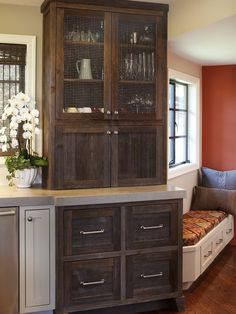 Reclaimed wood kitchen cabinets .... make this the red accent piece in kitchen