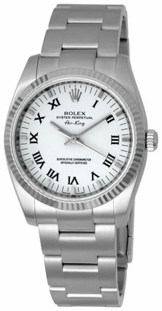 Rolex Airking with white roman dial Rolex Watches, Watches For Men, Stainless Steel Rolex, Rolex Air King, Sports Models, Casio Watch, Oysters, Roman, Luxury