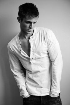 male model in black & white, what it is that troubles you so? Do you wish for more buttons to leave ever so casually unbuttoned?