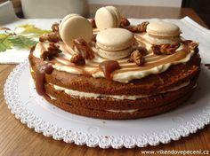 Dýňový dort se slaným karamelem Tiramisu Cake, Pavlova, Sweet Recipes, Cheesecake, Pudding, Sweets, Baking, Cupcakes, Ethnic Recipes