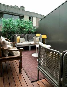 moderne balkongestaltung mit weißen möbel aus leder | outdoor ... - Wohnideen Leben Moderne