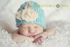 Adorable knit baby hats for props @ Simply Basic Designs.... pretty cute image also!