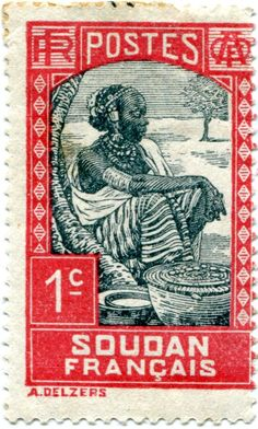 """French Sudan, 1931. For some reason colonisers often produced some very fine designs for the stamps used in their colonies. Here a portrait of a """"Soudanaise au marché"""" beautifully rendered. Learyworks.com collection."""