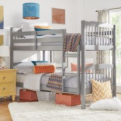 Shop for Simone Twin and Twin Bunk Beds by iNSPIRE Q Junior. Get free delivery at Overstock - Your Online Furniture Outlet Store! Get in rewards with Club O! Low Bunk Beds, Modern Bunk Beds, Bunk Beds With Stairs, Kids Bunk Beds, Toddler Furniture, Bunk Bed Designs, Loft Spaces, How To Make Bed, Decoration