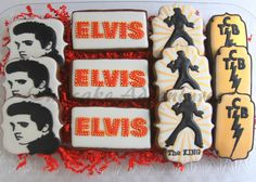 Made for my husband's coworker's birthday. He is a big Elvis fan. Birthday Party Decorations, Birthday Ideas, Birthday Parties, Fancy Cookies, Sugar Cookies, Elvis Presley's Birthday, Elvis Cakes, Royal Icing Sugar, Birthday Morning