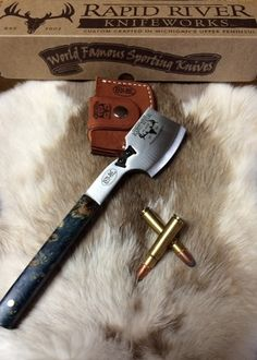 """9.5"""" and 9oz. Hand-ground A-2 high carbon tool steel, one quarter-inch thick. Built-in knife sharpener on the top! Beautiful stabilized & dyed (aqua blue) Black Ash Burl handle! AVAILABLE FOR A LIMITED TIME ONLY!"""