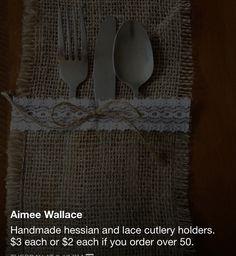 Handmade hessian cutlery holders.