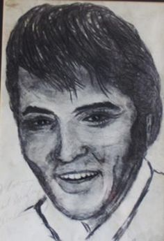 Elvis a signed Portrait: This is one I did back in 1971 which I was lucky enough to get Elvis to sign for me.