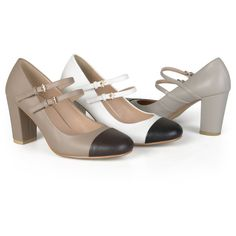 Women's Journee Collection Womens Two-tone Cap Toe Mary Jane Pumps ($43) ❤ liked on Polyvore featuring shoes, pumps, grey, pumps & heels, two-tone pumps, grey shoes, gray mary jane pumps, cap toe shoes and mary jane pumps