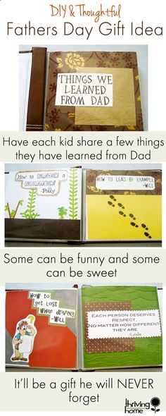 This is one of the best Father& Day gifts: Put together a list of things each kid has learned from Dad. You can either make a little scrapbook or even write them out on individual cards to share with him. It& be a gift he will never forget. Cool Fathers Day Gifts, Diy Father's Day Gifts, Father's Day Diy, Daddy Gifts, Fathers Day Crafts, Craft Gifts, Thoughtful Gifts For Dad, Kid Crafts, Easy Crafts
