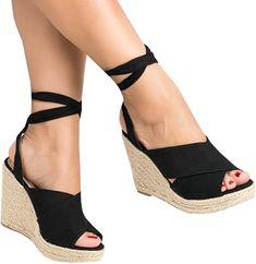 cef3ecc7a9c9 Amazon.com  Womens Espadrilles Wedge Sandals Summer Ankle Wrap Peep Toe  Platform Cute Shoes