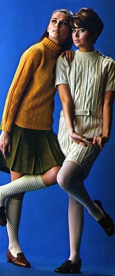 Had turtleneck sweaters and skirts just like the one on the left!  Mom made my skirts and we bought knee socks to match our sweaters!