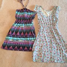 Dress set of two The green is a size small cute sundress. The other is a medium (runs small) Dresses