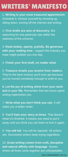 A Manifesto For Writers - to keep you motivated, inspired and enthusiastic about the act of writing.