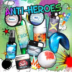 Save 10% off all 10 full-sized Anti-Heroes, when purchased together. Limited Stock. $81.72 BLACK MAGIC Dry Oil Spray BOOMERANG Fortune Cookie Soap CROC Spray Lotion EL DIABLO Muscle Rub MR. J Aloe Me Body Whip PUDDIN' Foaming Sugar Scrub ROPE BURN Deep Conditioner Treatment SOUL TAKER Face Mask TARGET PRACTICE Bath Bomb TASK FORCE X OCD Hand Sanitizer