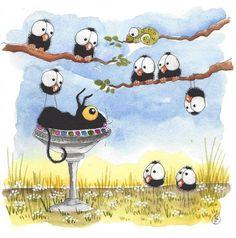 Original watercolor painting Stressie cat whimsical crows bird bath garden tree #IllustrationArt
