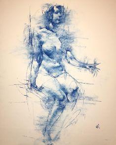 #girl #blue #nude #drawing #bristol #sandpaper #19x24 #tumblr