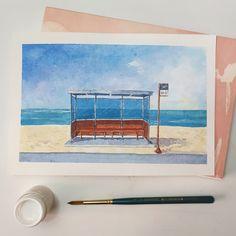 Kpop Drawings, Art Drawings Sketches Simple, Watercolor Postcard, Watercolor Paintings, Watercolour, Alone Art, Mini Canvas Art, Sad Art, Art Sketchbook