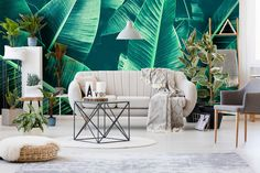 Current obsession: Banana Leaf Pattern! . . Who else has an obsession for banana leaf prints? . . . . Use IGCODE20 to avail 20% discount. . . . . #dramaticinteriors #jungleleaves #mural #wallpaper #giantbanana #tropicalleaf #digitalprint #Wallcovering #wallpapercustom #livingroominterior #receptionideas #powderroomideas #residentialwallpaper #commercialdesign #hospitalitydecor #interiordesing #interiør123 #interiör #interiørdesign #interiordesignart #wallsrepublic Interior Desing, Home Wallpaper, Trendy Home, Tropical Leaves, Commercial Design, Dark Backgrounds, Leaf Prints, Living Room Interior, Walls