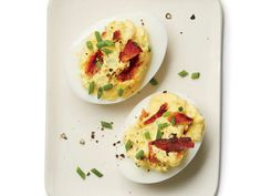(Use nitrate-free turkey bacon and all safflower mayo instead of yogurt) Bacon-Horseradish Deviled Eggs -- Perfect party appetizer.