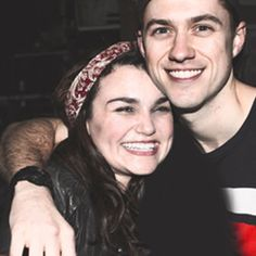 God they are so perfect and adorable like ugh Aaron Tveit and Samantha Barks just look at them