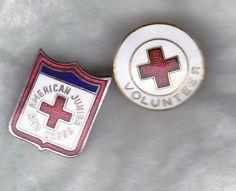 Lot 2 Vintage American Red Cross Brass Junior & Volunteer is Threaded Lapel Pin