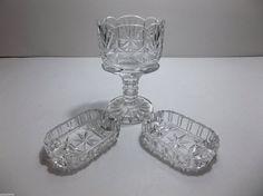Vintage Etched Crystal Ashtray PIN TRAY CIGARETTE HOLDER Set STARS