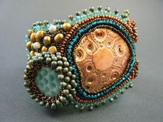 Oceanic Garden Bracelet by Kinga Nichols of Crimson Frog using one of my large freeform Copper Components.