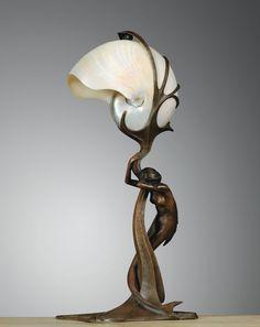 Art Nouveau bronze mermaid lamp with nautilus shell shade, c. by Gustav Gurschner ~Chaos Light Art, Lamp Light, Vase Lalique, Mermaid Lamp, Design Art Nouveau, Lampe Art Deco, Jugendstil Design, Lampe Decoration, Nautilus Shell