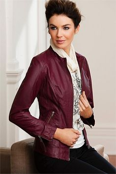Berry leather jacket