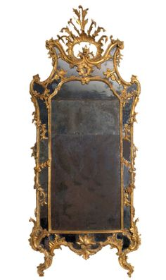 1stdibs | A carved and gilded Rococo mirror with antique mirror glass