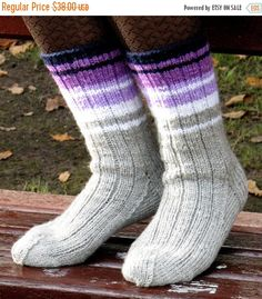 Items similar to Socks Striped, Leg Warmers Black White Grey Violet Hand Knit Super Warm on Etsy Wool Socks, Knit Mittens, Knitted Blankets, Knitting Socks, Knitting For Kids, Baby Knitting, Knitted Socks Free Pattern, Beginner Knit Scarf, Ace Pride