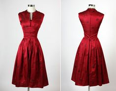 Harzfeld's Red Silk Cocktail Party Dress - love the color! And the simple lines 1950s Fashion, Vintage Fashion, Classic Fashion, Fashion Art, Vintage Style, Vintage Dresses, Vintage Outfits, 1950s Dresses, Vintage Wardrobe