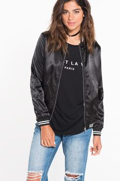 Shop new arrivals at Ardene for a variety of tops, bottoms, dresses, lingerie, shoes and accessories. New styles drop daily for constant new trends to love. Satin Bomber Jacket, New Trends, Lingerie, Jackets, Outfits, Clothes, Shopping, Shoes, Dresses