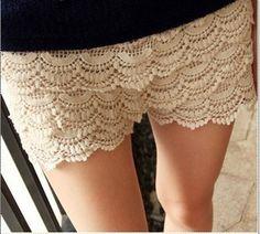 Crochet elastic basic short pants - US$ 12.65