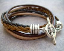 Bracelet en cuir Mens, quatre brins, Double Wrap, bijoux de Mens,