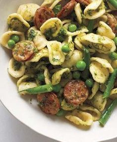 Easy dinner! Think I would switch the peas and green beans for artichokes and asparagus
