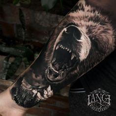 Bicep Tattoo Men, Inner Bicep Tattoo, Cool Forearm Tattoos, Bear Paw Tattoos, Grizzly Bear Tattoos, Animal Tattoos, Black Men Tattoos, Wolf Tattoos Men, Pair Tattoos