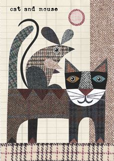 Großartig Erstaunlich Cats And Dogs 'Cat And Mouse' Card . Wool Applique, Applique Patterns, Applique Quilts, Embroidery Applique, Quilt Patterns, Applique Ideas, Wool Quilts, Mini Quilts, Cat Quilt