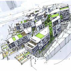 Conceptual Architecture, Landscape Architecture, Architecture Design, Urban Design, Sketches, Exterior, Architects, Perspective, Diagram